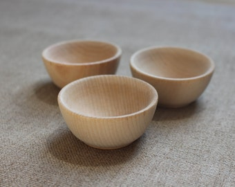 Wood bowls - set of 3 Natural Unpainted Timber Bowls