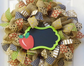 Teacher Wreath, back to school wreath, Chalkboard Wreath, Classroom Wreath, Celebration Wreath, Deco Mesh Wreath,  Burlap Apple Wreath
