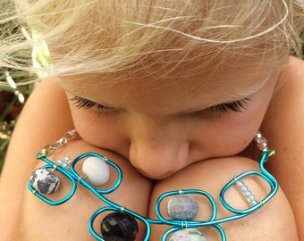 Sale!! Hand made aqua blue statement bib necklace with semi precious stones and seed beads
