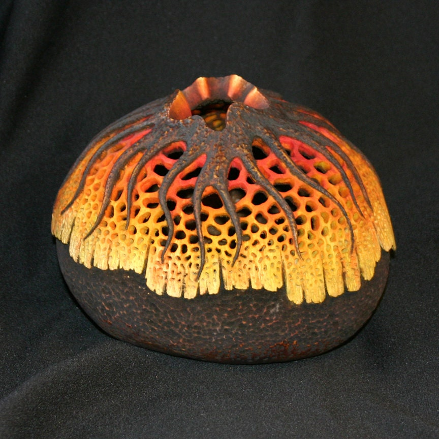Filigree And Starburst Carved Gourd