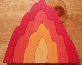Wooden Fire Stacker Puzzle