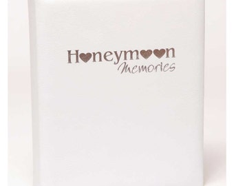 Unique honeymoon wedding album / memory book in quality white leather with silver foiling