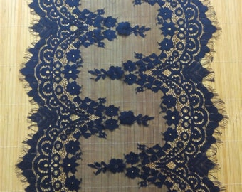 "7ft navy Table runner, 13"" ,  lace table runner, wedding  table runners,  navy lace runner,  R14123001"