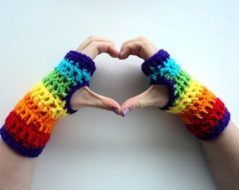 Fingerless Gloves Crochet Pattern, Crochet Arm Warmers Pattern, Crochet Gloves Pattern, Crochet Mittens Pattern, Rainbow Gloves Pattern