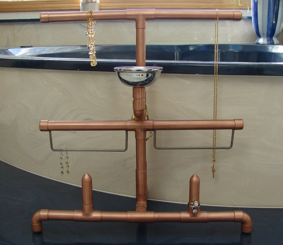 Copper pipe jewelry stand by restique on etsy for Copper pipe jewelry stand