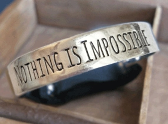 Fitbit Flex bracelet Nothing Is Impossible SHINY SILVER  inspirational womans mens One Size