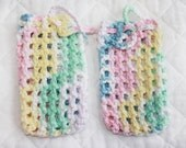 Crocheted Cotton Soap Bags, Pair of Pastel Soap Savers, Bath or Shower Soap Pouches or Sacks, Eco-friendly and Exfoliating, All Cotton Yarn