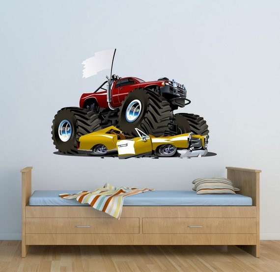 Full colour monster truck wall decal car wall art sticker for Cars wall mural sticker