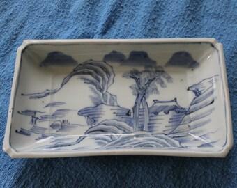 Blue Oriental Rectangular Dish/Platter, Handmade