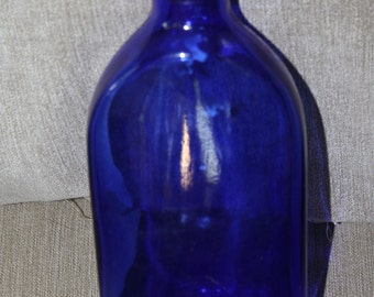 "Cobalt Blue Bottle w Lid that says ""George Ballantine and Sons, Dumbarton and Elgin"" w Company Crest, Blended Whiskey from Scotland Bottle"