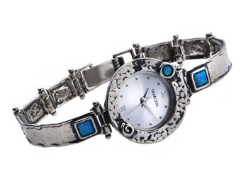 SHABLOOL watch, sterling Silver watch, bracelet watch, opal stone watch, watch from israel, women watch, silver watch, watch