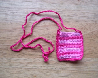 Amulet Bag Necklace Hand Crocheted Pink