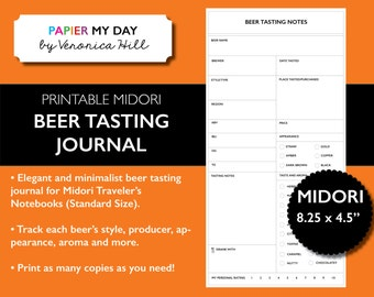 Midori travelers notebook daily calorie tracker by papiermyday for Wine tasting journal template