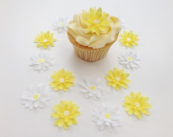 14 Edible Yellow and White 3D Wafer Flowers Cupcake Toppers Precut