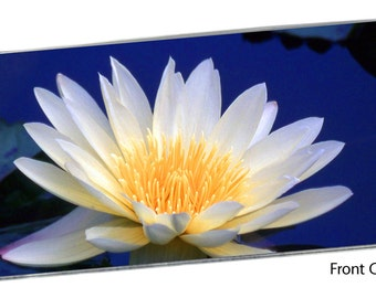 White Water Lily Checkbook Cover Pocket Note Pad, Nymphaeaceae Lilypad Pond Flower Blue Water Spring Floral Garden Bouquet