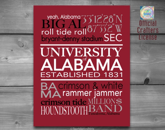 University of alabama crimson tide roll tide by for Alabama football wall mural