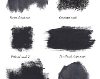 6 hand painted digital photo masks (with corresponding abr brushes) for use with textures, papers and photos