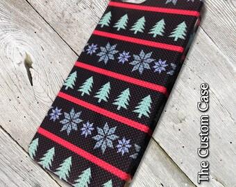 Christmas Sweater Phone Case, Fun Winter Knits Iphone Case, Christmas Tree, Iphone 4/5/5c/6/6+/6s, Galaxy S3/S4/S5/S6/S6 Edge/6Edge+