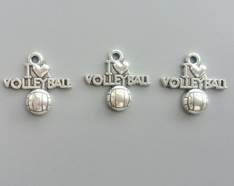 I Love Volleyball Charms Antique Silver Tone Heart Pendant for DIY Jewelry Accessories Bracelet Necklace Metal Beads 19*20mm 492