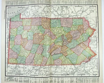 Vintage Original 1895 Map of Pennsylvania by Rand McNally