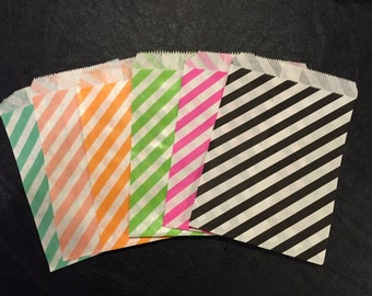 Diagonal Stripe Paper Bag, Party Treat Bag, Candy Bag, Favor Bags, Your Choice of Various Colors – 25 Bags Total