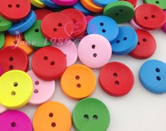 100Pcs  Mix Color 2 Holes Wood Buttons Clothing Sewing Tool 15mm WB189