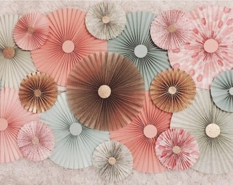 Paper Rosette Backdrop- 15 Rosettes, Photography,Props