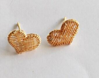 Earrings, Heart earrings, Handmade earrings, stud earrings