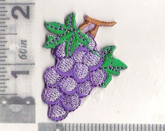 Embroidered purple grapes iron on patch