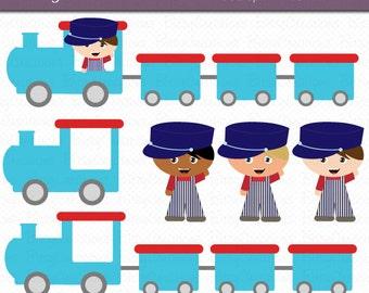 Train Boys in Blue and Aqua Digital Art Set Clipart Commercial Use Clip Art INSTANT Download Train Clipart