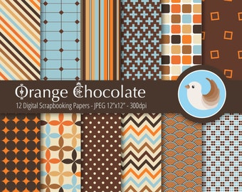Orange and Brown Digital Paper - Brown and Blue Paper - Orange Digital Paper - Set of 12 Digital Scrapbooking Papers