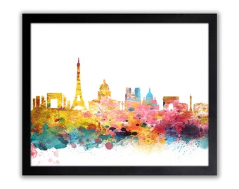 Abstract Paris Art Print - Watercolor Cityscape - Paris Wall Art - Valentines Day Gift - Anniversary Gift - PARIS 2