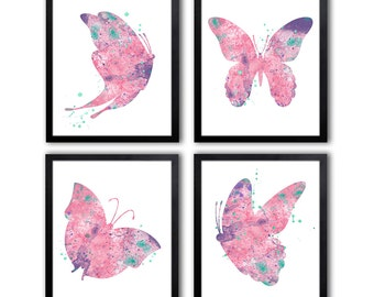 Butterfly Art Prints, Girls Nursery Art, Butterfly Nursery Decor, Set of Four - BS9