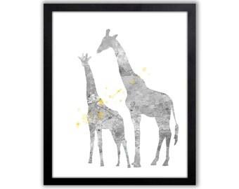 Gray And Yellow Giraffe Nursery Art, Giraffe Fine Art Prints