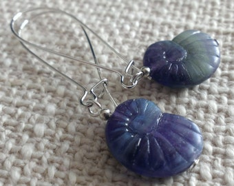 Czech glass nautilus earring