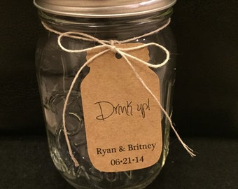 50 Drink up! Customized Mason Jar favor tags