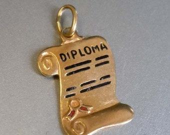14kt Yellow Gold Enamel Graduation Diploma Scroll Bracelet Charm