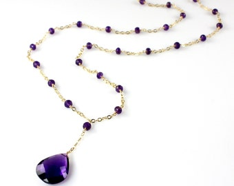 Amethyst Pendant and Pearl Necklace
