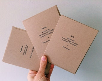 Definition Card Set - 6 Assorted Letterpress Cards - Appreciation notecard - Gratitude and Admiration Card - All Occasion Of Note Stationers
