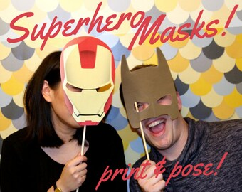 SUPER HERO Masks – DIY printable prop pack - Photobooth Wedding Bachelorette Birthday Super Hero Masks Printable pdf
