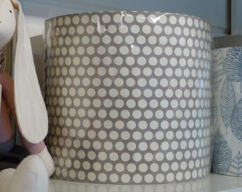 30cm Drum Lampshade Hand Rolled with Soft Grey & White Spot Cotton Fabric, Table Lamp or Ceiling Shade