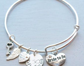 Bride to Be Personalized Hand Stamped Adjustable Wire Bangle Bracelet