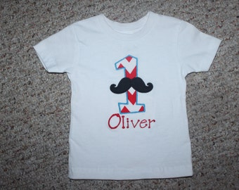Custom Embroidered First Birthday Mustache Chevron Boy Birthday Shirt Red and Blue