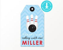 Bowling Favor Tag - Printable Bowling Party Favor Tags by Printable Studio