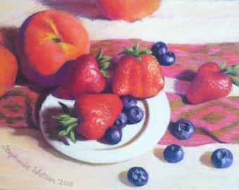 Painting Original Pastel Berries Peaches ArtEqualsJoy