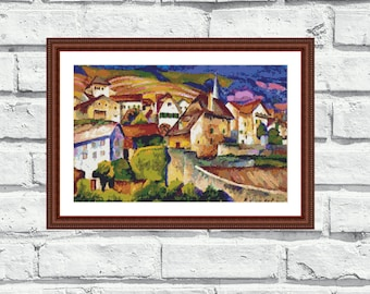 """Modern cross stitch pattern, """"A City in Switzerland"""" lovely city scene. Instant download printable PDF. Made with DMC. (P028)"""