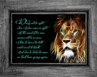 Narnia Aslan Poster Print Lion, Witch and the Wardrobe, C.S. Lewis, Chronicles of Narnia