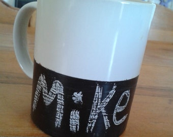 Handmade chalkboard mugs