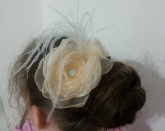 Wedding Hair Accessory / peach color/ Wedding Hair Flowers / Wedding Hair Piece / Bridal Hair Accessories / Bridesmaids Hair