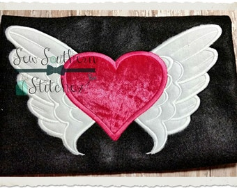 Heart with Wings Applique Design ~ Quilts ~ Loved Ones ~ Remembrances ~ Instant Download